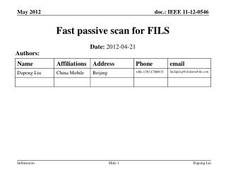 Fast passive scan for FILS