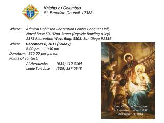 Where:     Admiral Robinson Recreation Center Banquet Hall,