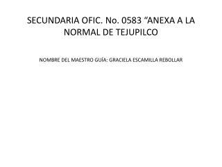"""SECUNDARIA  OFIC . No. 0583 """"ANEXA A LA NORMAL DE TEJUPILCO"""