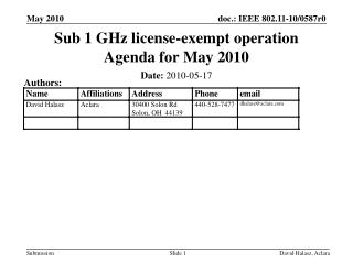 Sub 1 GHz license-exempt operation Agenda for  May 2010