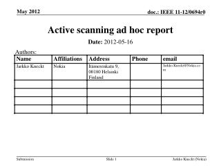 Active scanning ad hoc report