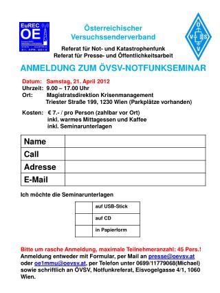 Österreichischer  Versuchssenderverband Referat für Not- und Katastrophenfunk