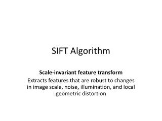 SIFT Algorithm