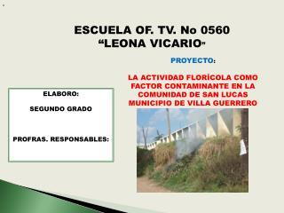 """ESCUELA OF. TV. No 0560 """"LEONA VICARIO """""""