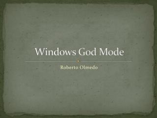 Windows God Mode