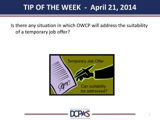 TIP OF THE WEEK  -  April 21, 2014