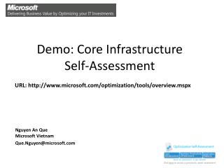 Demo: Core Infrastructure  Self-Assessment