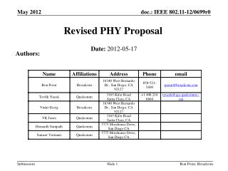Revised PHY Proposal
