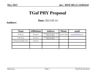 TGaf PHY Proposal
