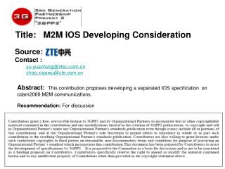 Title:    M2M IOS Developing Consideration