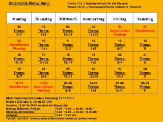 Motorradunterricht  jeden Samstag 11-14 Uhr!  Klasse C/D Mo. u. Di 18-21  Uhr