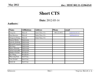 Short CTS
