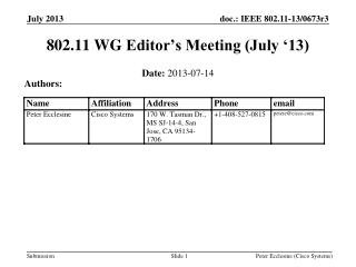 802.11  WG  Editor's Meeting (July '13)