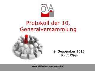 Protokoll der 10. Generalversammlung