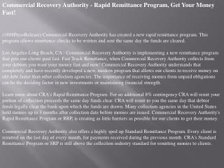 Commercial Recovery Authority - Rapid Remittance Program