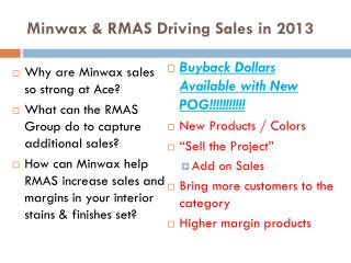 Minwax & RMAS Driving Sales in 2013