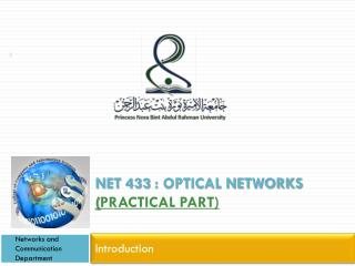Net 433 : Optical Networks  ( Practical Part)