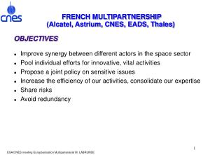 FRENCH MULTIPARTNERSHIP Alcatel, Astrium, CNES, EADS, Thales
