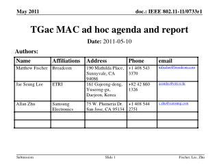 TGac MAC ad hoc agenda and report