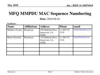 MFQ MMPDU MAC Sequence Numbering