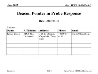 Beacon Pointer in  Probe Response