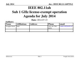 IEEE 802.11ah Sub 1 GHz license-exempt operation Agenda for July 2014