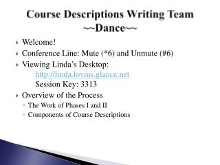 Course Descriptions Writing Team ~~Dance~~
