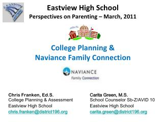 Eastview High School Perspectives on Parenting   March, 2011   College Planning  Naviance Family Connection