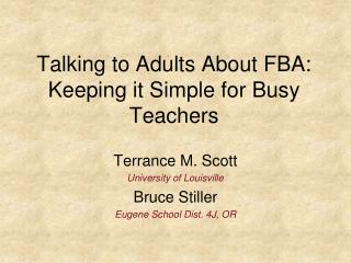 Talking to Adults About FBA: Keeping it Simple for Busy Teachers