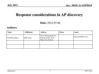 Response considerations in AP discovery