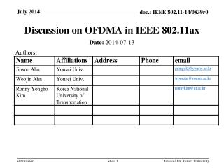 Discussion on OFDMA in IEEE 802.11ax