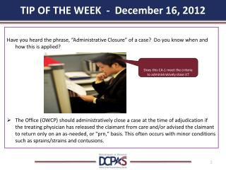 TIP OF THE WEEK  -  December 16, 2012