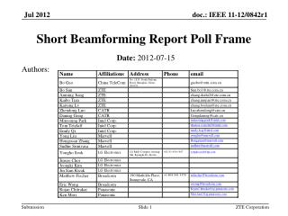 Short  Beamforming  Report Poll Frame