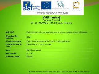 Vnitřní ústrojí Prvouka, 3.  ročník VY_32_INOVACE_421, 22. sada, Prvouka