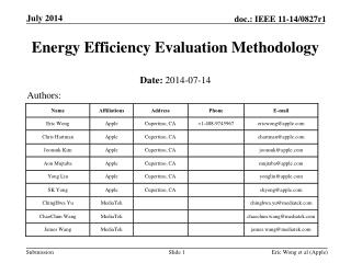 Energy Efficiency  Evaluation Methodology