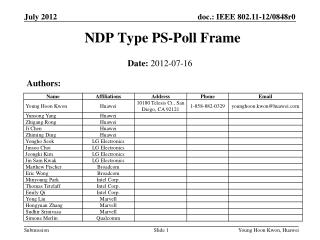 NDP Type PS-Poll Frame