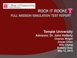 Rock it  rocke Full mission simulation test report