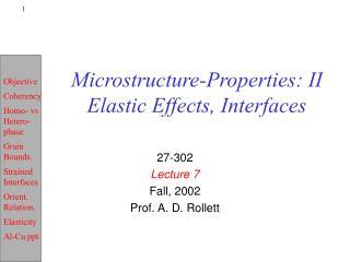 Microstructure-Properties: II Elastic Effects, Interfaces