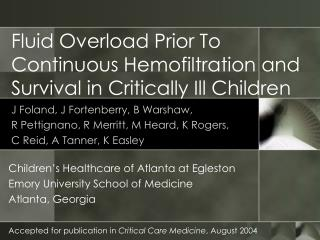 Fluid Overload Prior To Continuous Hemofiltration and Survival in Critically Ill Children