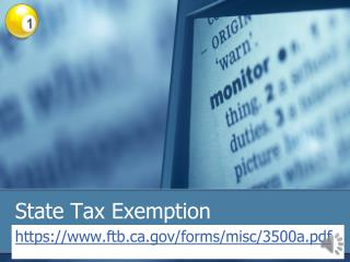 State Tax Exemption