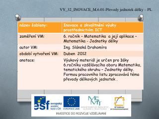 VY_32_INOVACE_M.6.01-Převody jednotek délky – PL