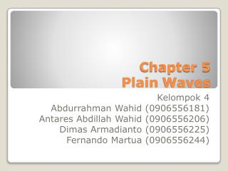 Chapter 5 Plain  Waves