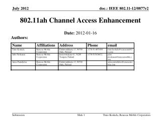 802.11ah Channel Access Enhancement