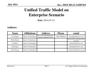Unified Traffic Model on  Enterprise Scenario