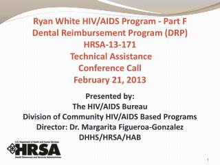 Presented by: The HIV/AIDS Bureau Division of Community HIV/AIDS Based Programs