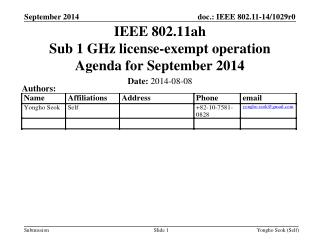 IEEE 802.11ah Sub 1 GHz license-exempt operation Agenda for  September  2014