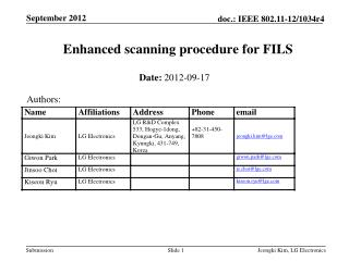Enhanced scanning procedure for FILS
