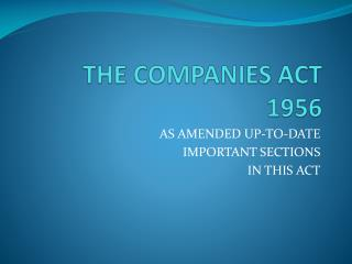 THE COMPANIES ACT 1956