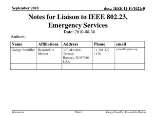 Notes for Liaison  to IEEE 802.23, Emergency Services