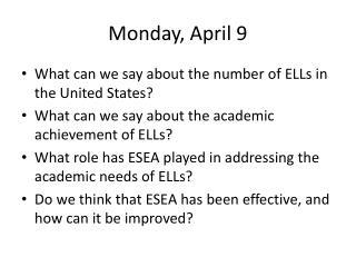 Monday, April 9